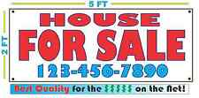 HOUSE FOR SALE w/ Phone Banner Sign Custom Phone # Number NEW LARGER SIZE