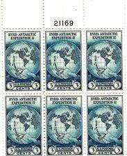 "United States Scott #733 "" Byrd Antarctic "" Plate Block (6) Mint NH"