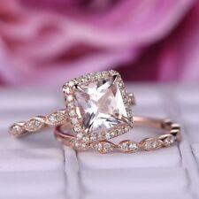 1.39Ct Princess Morganite Simulant Diamond Engagement Ring Silver Rose Gold Fnsh