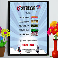 Birthday gift for DADDY DAD STEPDAD FATHER Christmas personalised HERO A4 PRINT