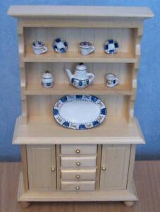 1/12 dolls house miniature Kitchen Dresser & Tea set Furniture Sideboard LGW BN