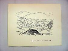 1930-40's C.Palmer India Ink Drawing of Katahdin Peak, Great Basin, Maine