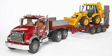 Bruder MACK Granite Low Loader Kids Play Toy Truck w JCB Backhoe 02813 NEW