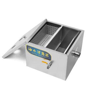44L Kitchen Restaurant Grease Oil Trap Stainless Steel Interceptor Filter Kit