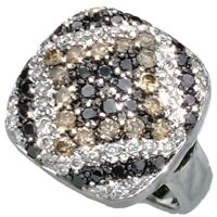 Le Vian 18K White Gold Diamond Ring Levian Chocolate Black Fancy Color Cushion