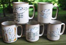 Vintage SET OF 5 OTAGIRI Japan Hand Painted Mugs SEA BIRDS Each A Different Bird