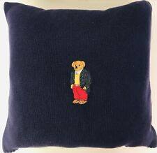 Ralph Lauren Tartan Plaid Polo Bear Blue 18 X 18 Feather Throw Pillow