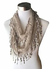 Women Lace Infinity Loop Scarf With Fringes Polyester