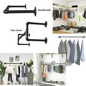 Industrial Pipe Clothing Rack Wall mounted Clothes Rail Hanging Display Rack XY