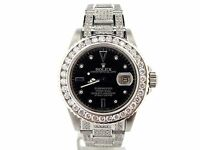 Rolex Submariner Mens Stainless Steel Watch Black Serti Diamond Dial Bezel Band