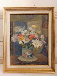 "Still Life "" Bouquet of Flowers IN Un Pot IN Earth "" Oil On Panel Framed"