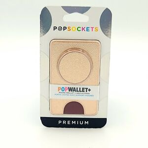 PopSockets PopWallet+: Swappable and Repositionable Wallet - Rose Gold Saffiano