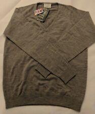 Glenbrae Womens Merino Wool V Neck Jumper Pewter Size 14