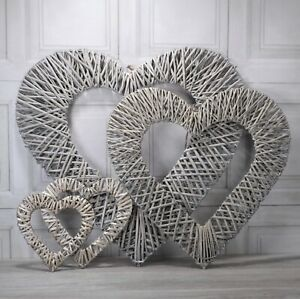 Large Grey wash woven wicker rattan hanging heart various sizes 40/60/75cm
