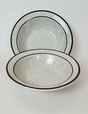Jackson Custom China Bowls Soup Salad Desert Fruit Brown Speckled Trim Set/2 USA