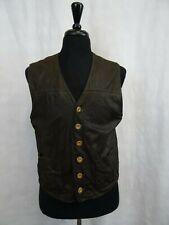 Men's Vintage Leather Biker Waistcoat Gilet Vest 40R