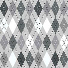 Fabric Argyle Black & White on Gray Flannel 1 3/4 Yards S