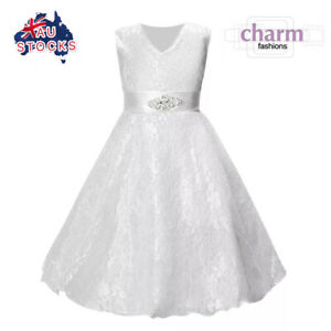 Flower Girl Communion Prom Princess Pageant Party Wedding lace white tulle dress