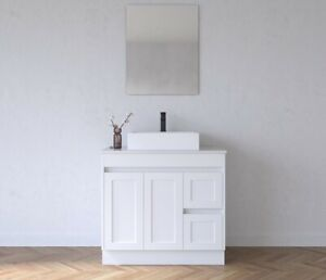Melbourne Classic White Freestanding 900 Bathroom Vanity Cabinet with Stone Top