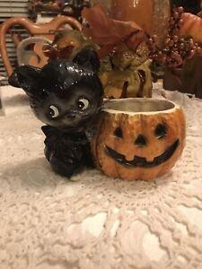 Rare Black Cat Kitten Pumpkin Planter Halloween Fig.Candleholder 1950 Relpo 6031