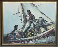 "Beautiful Mid-Century Oil Painting ""Ship at Sea"" by Manuchehr, Large & Beautiful"