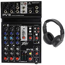 Peavey PV6 PV 6 Pro Audio Mixer w/ 2 Mic In, USB, Compressor/Effects+Headphones