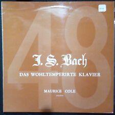 BACH DAS WOHLTEMPERIRTE KLAVIER (MAURICE COLE) VINYL LP U.K. PRESSING