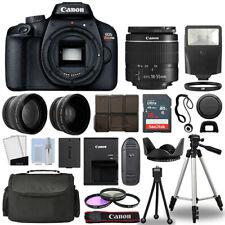 Canon EOS Rebel T100 DSLR Camera Body + 3 Lens Kit 18-55mm + 16GB + Flash & More