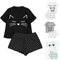 2PCS Women Summer Casual Shorts Short Sleeve Tee Shirt Tops Sleepwear Pajama Set