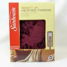 "Sunbeam Garnet Red Heated Velvet Throw 50"" x 60"" 3 Settings 3 Hour Auto Off"