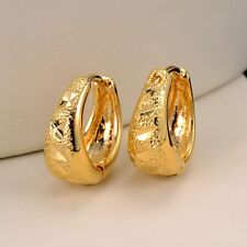 18k Yellow Gold Filled Carved Women's Earrings 14MM Hoop Fashion Jewelry Gift