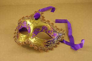 Economical VENETIAN Mardi Gras MASQUERADE MASK CHOOSE GLITTER COLOR