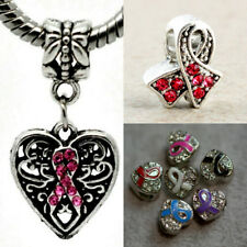 Awareness Ribbon Antique Silver/Glass/Rhinestones Breast Cancer Charm Beads