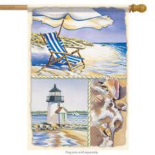 "Water's Edge Summer House Flag Nautical Shells Surf Sand Lighthouse 28"" x 40"""