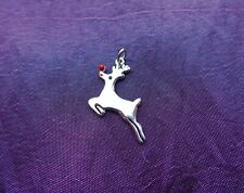 RUDOLF RED NOSED REINDEER CHRISTMAS CHARM PENDANT 925 STERLING SILVER