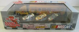 VTG 1999 NASCAR 1:64 M&M TRANSPORTER AND 3 STOCK CARS IN BOX RACING CHAMPIONS