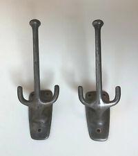 2 Vintage or Antique Solid Cast Steel Coat Hooks