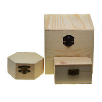 3pcs Blank Unfinished Wood Wooden Jewelry Case Storage Box for DIY Craft