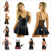 Women Latex Leather Lingerie Mini Dress Night Party Mesh Bodycon Short Skirt