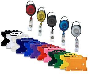 Premier Retractable ID Badge Reel & ID Card Badge Holder Free P&P