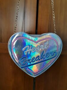 "Silver ""Heartbreaker"" Heart Shaped Crossbody Handbag With Gold Chain"
