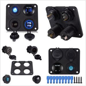 Car SUV Dual USB Socket+Voltmeter+12V Power Outlet +Toggle Switch Panel Blue LED