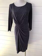 CATHERINE MALANDRINO Grey Stretch Twist Front Tulip Hem Dress - Small