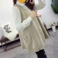 Women Casual Knitted Vest Waistcoat Gilet V Neck Sleeveless Shirt Tops Knitwear