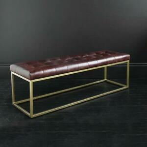Oxford Bench Ottoman Dark Brown Leather with Brass Metal Box Frame 14 cm wide