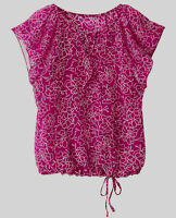 Fuchsia Pink Floral Print Blouse Top Size 10  14 16 18 20 Flounce Cap Sleeve NEW
