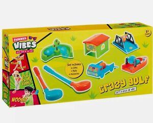 Childrens Crazy Mini Golf Set 5 Holes 2 Clubs Outdoor Balls Game Fun Summer Toy