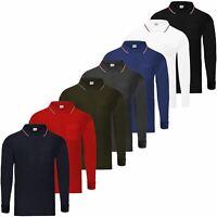 Mens Long Sleeve Pique Polo T-Shirt Tipping Collar Pocket Smart Casual Shirt Top