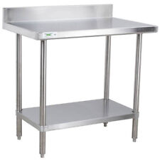 "Regency 30"" x 36"" 16-Ga Stainless Steel Commercial Work Table with 4"" Backsplash"
