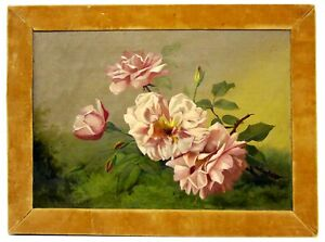 Antique/Vintage Victorian Oil on Board C Pearce Painting Painting Pink Roses